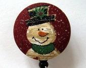 Primitive Snowman Badge Reel - Badge Reel - Winter Badge Holder - ID Badge Holder - Retractable Badge - Fabric Badge Reel - Nurse Gift