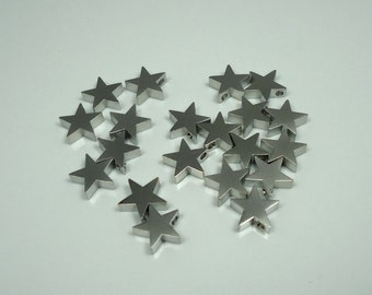 F-48. Matte Original Rhodium Plated Star Beads - 4pcs