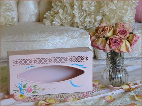 Sweet Vintage PINK Tole ROSES TISSUE Box, Hand Painted, Cottage Style, Shabby Chic