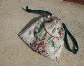 Vintage Floral Hankie Japanese pouch purse, 3 pockets, delicate cotton, handstitched and handpainted message inside