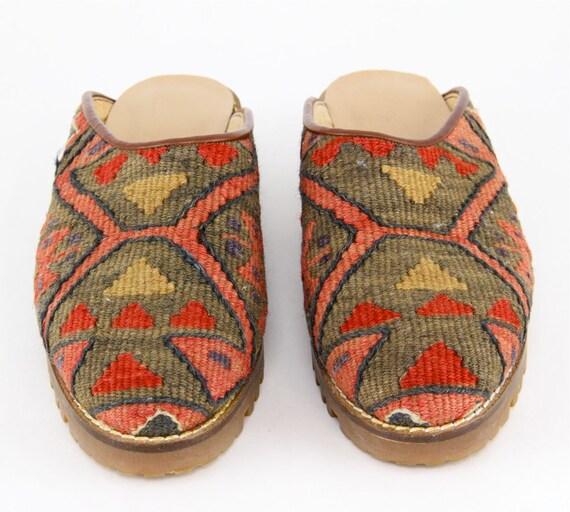 Turkish Kilim Tapestry Clogs 80s 90s Boho Hippie Tribal Woven