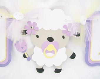 lamb baby shower banner, lavender and yellow, lamb banner, lamb decorations, lamb table banner, its a girl banner, girl lamb banner