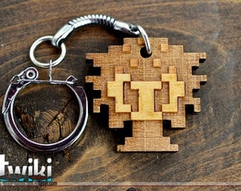Zelda 8 bit Oktorok wood keyring OR charm accessory
