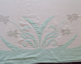 Vintage French Fine Linen Sheet Applique Hand Cutwork Irises 10 ft Long would make a Fabulous Curtain