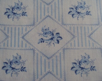 Vintage French Faded Fabric Blue Roses Stripes Diamond Shapes Suitable for Patchwork Quilting Lavender Bags Feedsack Pillow