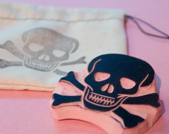 Ahoy Pirate Rubber Stamp - Skull and Crossbones Stamp
