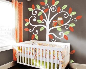 Wall Decal Baby Nursery Decor - Owls and Swirly Tree - Nursery Kids Wall Decal