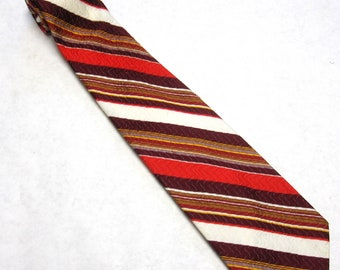 Red White Brown Yellow Striped Necktie Maroon Clyde Campbell Tie