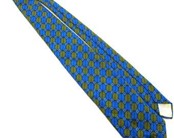 Blue Green Necktie Tie 60s Vintage