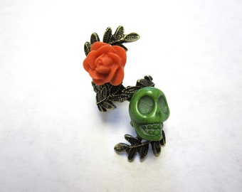 Sugar Skull Ring Day of the Dead Coral Orange Green Rose Ring