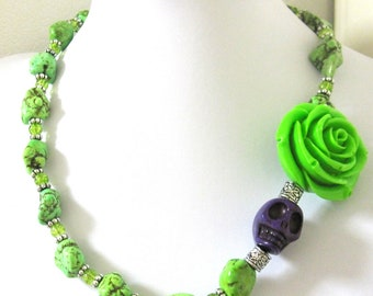 Sugar Skull Necklace Day of the Dead Lime Green Rose Purple