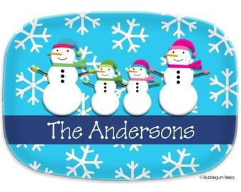 Monogram PLATTER - Melamine - CHRISTMAS HOLIDAY Name - 3 Letter initial - Personalized Custom Family of Snowmen