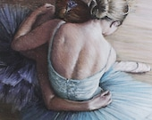 Tired ballerinas signed limited edition giclee ballet print. Fits IKEA frames