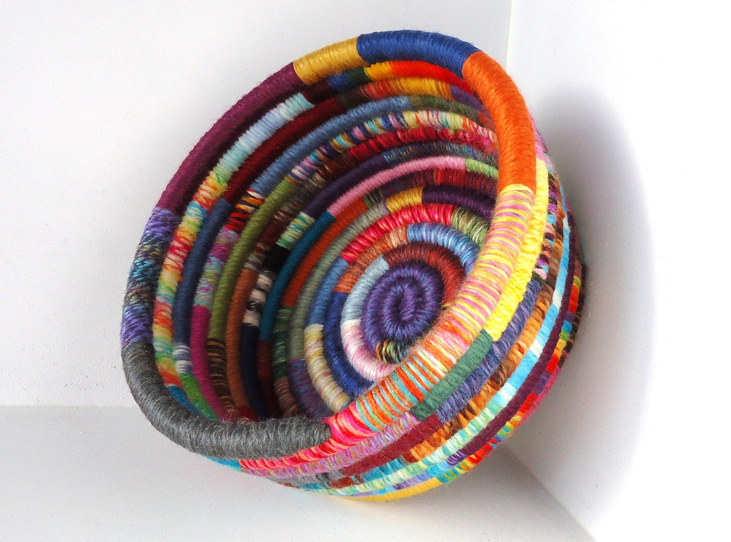 Handmade Basket Colorful Yarn Coiled Basket Multicolored