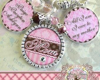 Mom Grandma Nana Triple Pendant NECKLACE (or Key Chain), Custom Quote, Custom Names Number, Children's Names, Mother, Gift, Mimi, Wedding