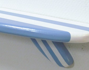 Coastal Blue Surfboard Shelf with Vanilla Hand Painted Stripes 28 Inches