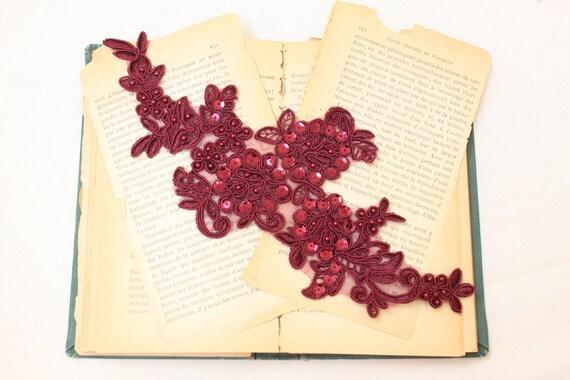 Wine Beaded Lace