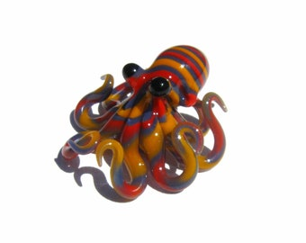 Small Glass Octopus Focal Bead Necklace Bright Colorful Yellow Red Blue Poison Striped