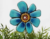 flower garden stake- garden sculpture - garden decor - ceramic and metal - garden art - plant stake - buttercup turquoise