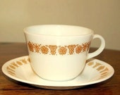 Vintage Corning Corelle Pyrex Cups and Saucers:  Set of Four
