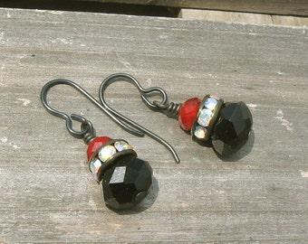 Black Vintage Style Earrings - Black and Red Crystal - Opal Crystal Rondelles