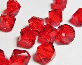 Swarovski Lite Siam Red Crystal Bicone 6mm Xilion Qty 24