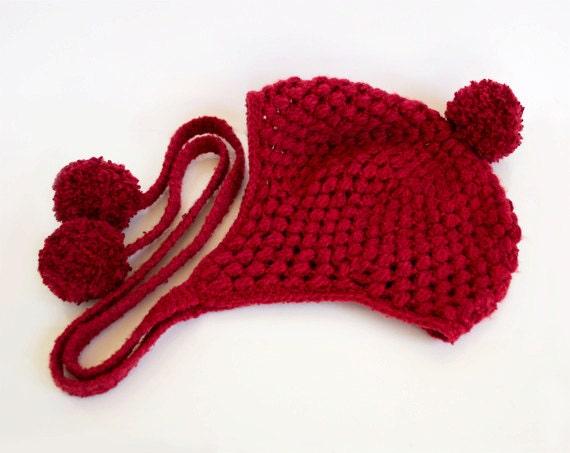Pom Pom Ear Flap Hat in Burgundy Red, Merino Wool, Alpaca Wool, Hand-knitted Winter Accessories