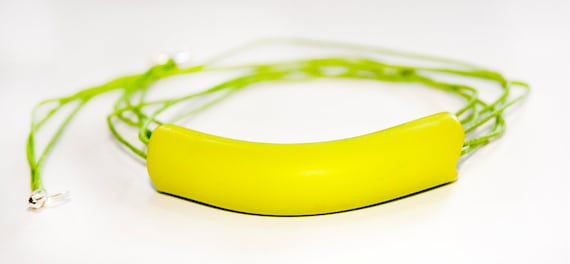Neon colors Minimalistic necklace Gift under 20 Wasabi green  Neon colorful Israel jewelry free shipping