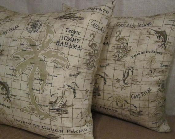 Nautical Pillow Cover in Tommy Bahama Indoor/Outdoor Fabric