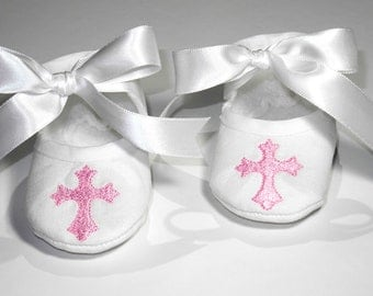 Christening  Booties - Baptism Shoes - Pink Cross - Newborn Keepsake- Shoes Baby - Baby Shower Gift - Baby Keepsake Gift- Dedication Shoes