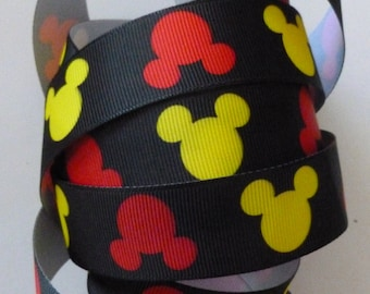 Disney Ribbon, Micky Mouse Black Grosgrain Ribbon, Yellow and Red Accent Colors  - 1 yard -  1 inch wide