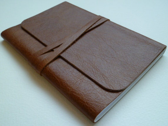 Leather Bound Notebook/Journal Traditional Tan With Antique Finish Handmade