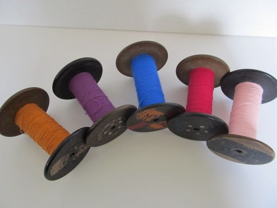 Set of 5 Vintage Spools with Cotton Twine