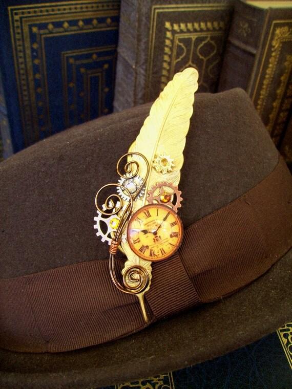 Steampunk Hat Pin or Brooch (HA32) - Raw Brass Feather - Glass Clockface Cabochon - Gears - Swarovski Crystals