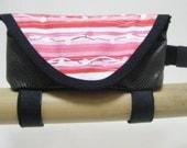 Faux Snake Skin Bicycle Bento Bag with Pink Stripe Flap  3347