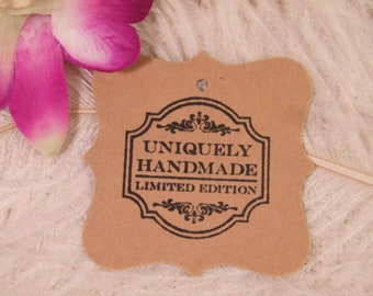 Gift Tags   Uniquely Handmade   Hand Stamped   Kraft Card stock Price tags   Hang Tags    Eco-Friendly   set of 25