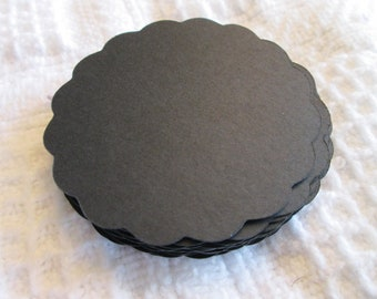 20 Large Black Scalloped Circle Punches Die Cuts Embellishments 4 inch --