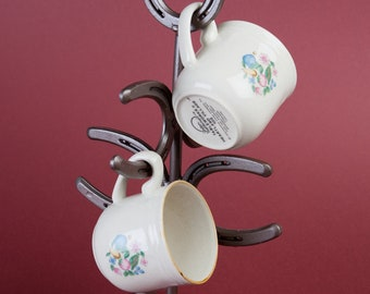 Horseshoe Mug Tree, Coffee Mug Rack, Coffee Cup Holder, Western Kitchen Decor Storage
