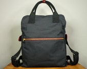 Cosmo Backpack in Black Canvas Twill/ Men/ Messenger/ Laptop Bag/ School Bag/ Leather Bag/ Fashion Bag/ Large Capacity Bag/ Back to school
