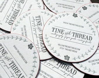 Custom 2-color Letterpress Coaster Business Card and Graphic Design Package w/ edge print - 100qty