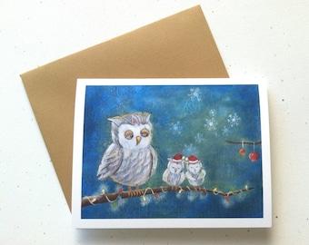 Owl Family Christmas Card by Megumi Lemons