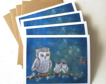 Owl Family Christmas Card - set of 4 cards by Megumi Lemons