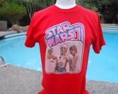 Vintage Original Star Wars Iron-On TShirt 1977 With C3P0 & Luke Skywalker