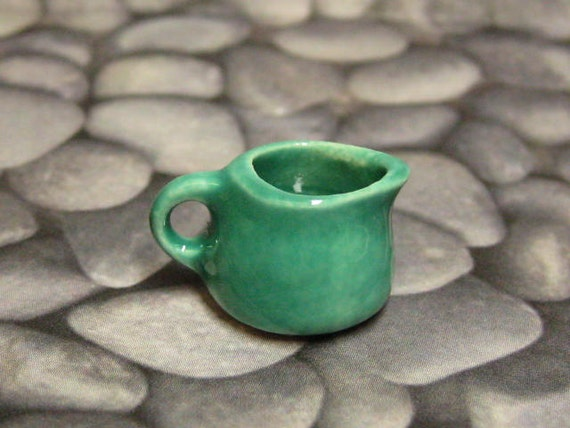 jade dollhouse miniature ceramic short pitcher for 1:12 scale one inch or playscale creamer