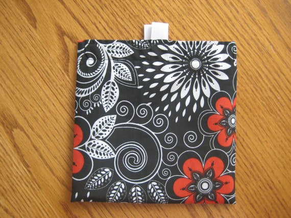 PROMOTIONAL--SALE-- One for 2.50- Reusable Sandwich Bag or Snack Bags- Black White Red
