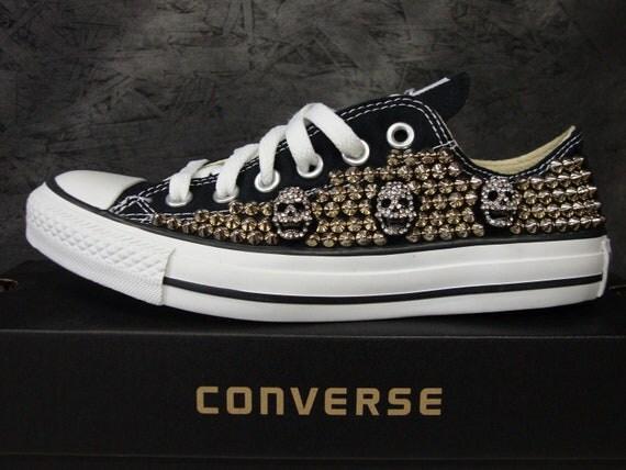 Studded Converse Shoes w/ Rhinestone Skulls