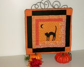 Halloween Quilt Black Cat Mini Quilt Table Top Wall Art Black Orange DISPLAY NOT INCLUDED
