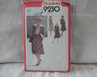 Misses  skirt, blouse and lined cardigan jacket pattern simplicity 9230 uncut 1979