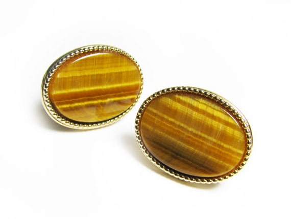 Vintage Tiger Eye Cufflinks, Gift for Him - Boutons de Manchette. Vintage Jewelry by My Chouchou on Etsy.