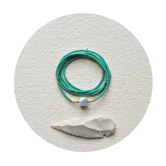 HALF OFF The Terrestrial Series in Matte Emerald- Botswana Agate Cube Necklace